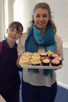 Children in Need- cakes being served