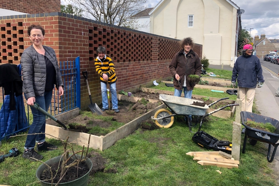 BH15 Grow Together- first new bed going in- Original photo courtesy bh15growtogether on Facebook