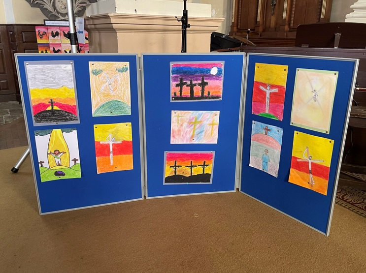Palm Sunday and Holy Week in the Diocese- Archbishop Wake CE School display in Blandford Church