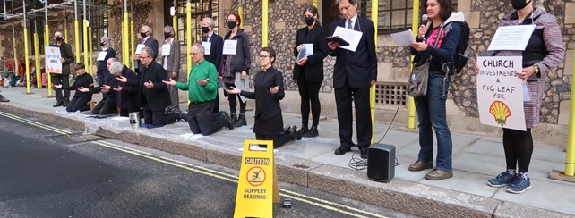 Taking Christian Climate Action- protest outside Church House, London